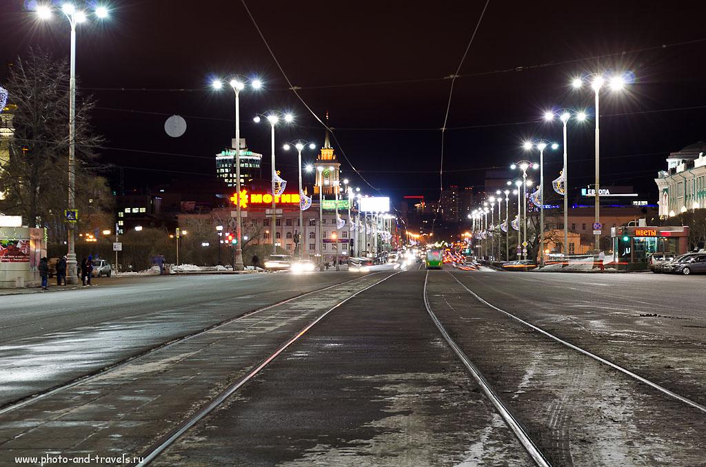 Фотография 11. Ночное фото на зеркальный цифровой фотоаппарат Nikon D5100 KIT 18-55 VR. Главный проспект. 100, 55 (82), 8, 2
