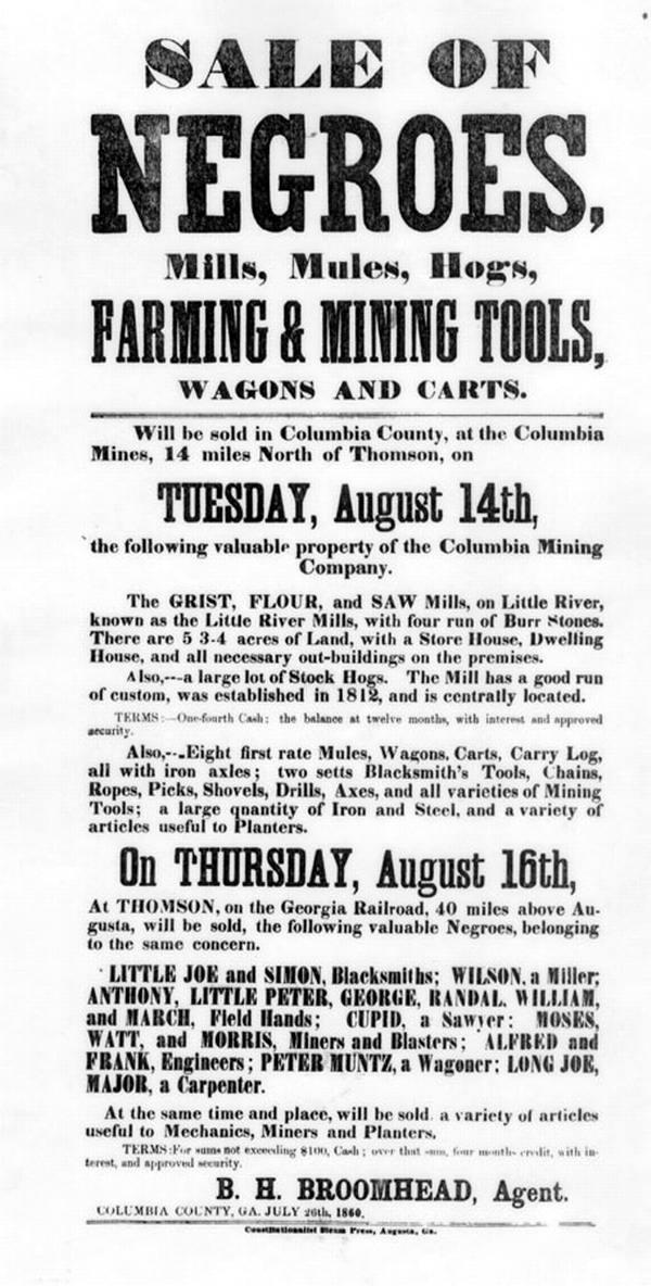 Объявление о продаже рабов в штате Джорджия (1860 год)