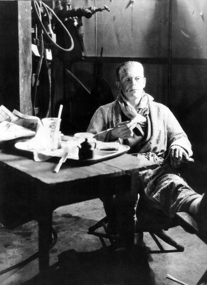 1931. Борис Карлофф на съемках фильма «Франкенштейн»