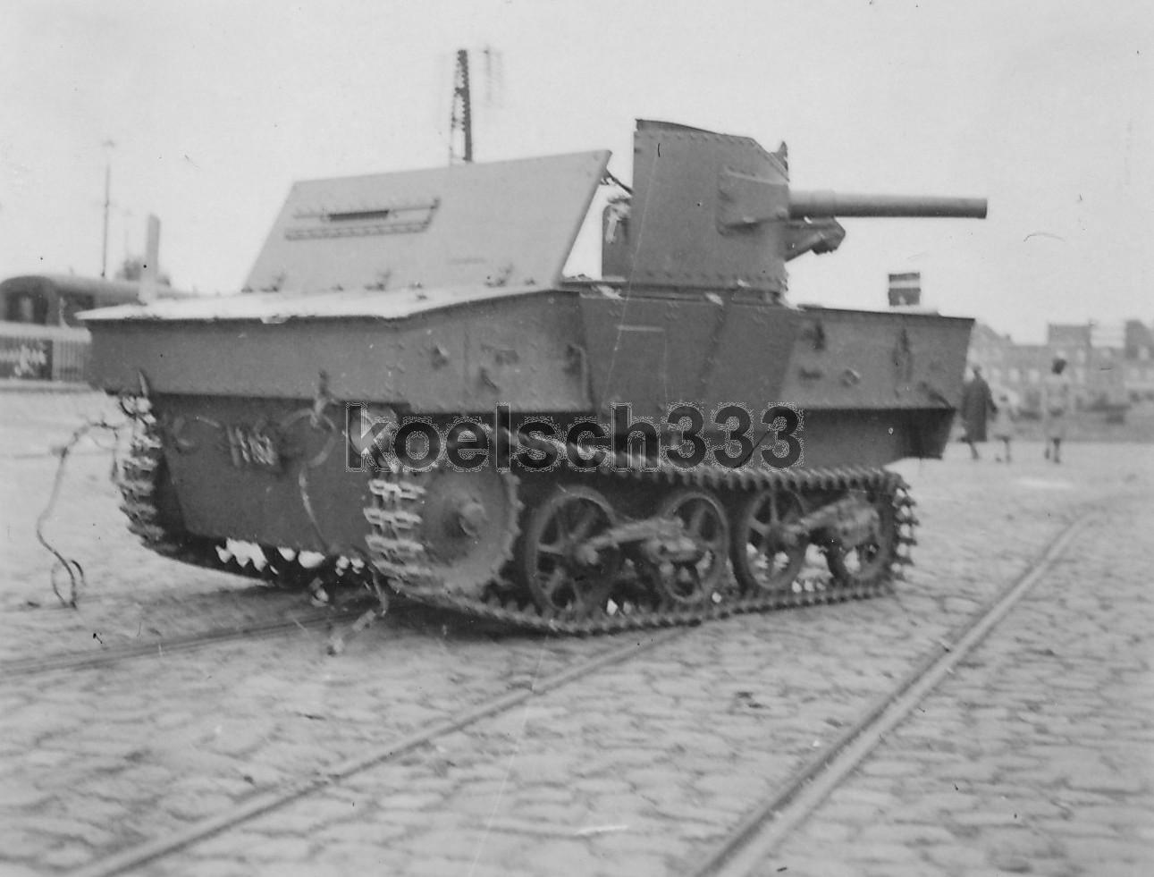 Брошенная бельгийская 47-мм САУ Char leger T13B2.