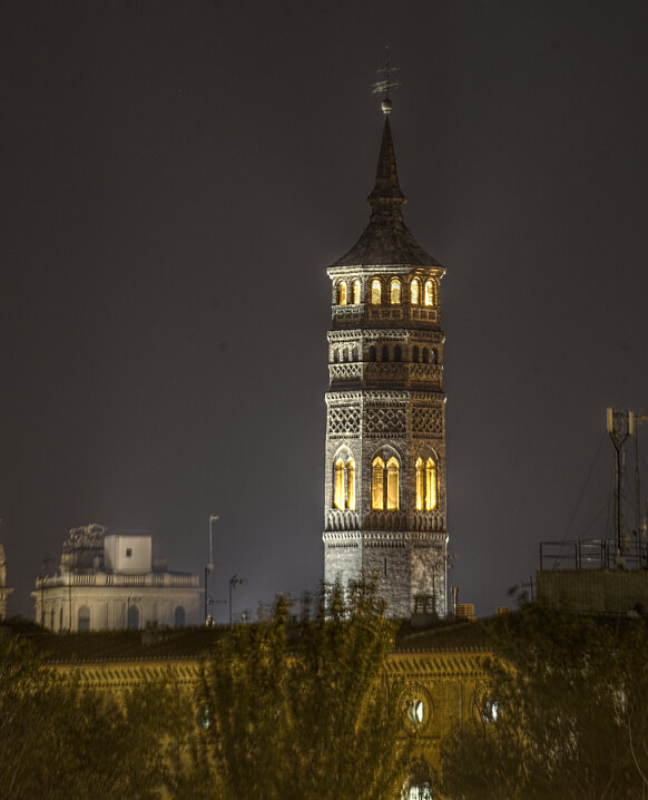 Zaragoza. The bell tower of the Church San Pablo at night. HDR