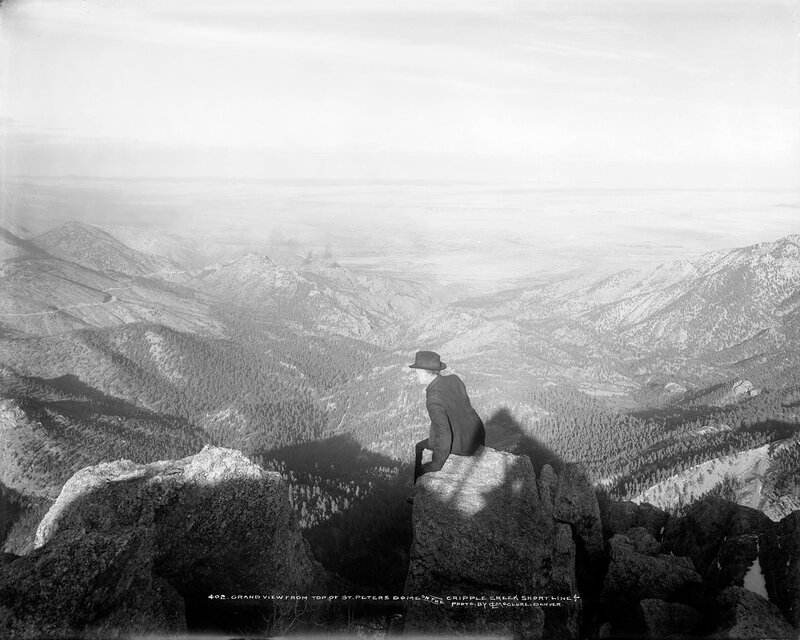 Grand view from top of St. Peters Dome on the Cripple Creek Short Line. Colorado, between 1900 and 1920