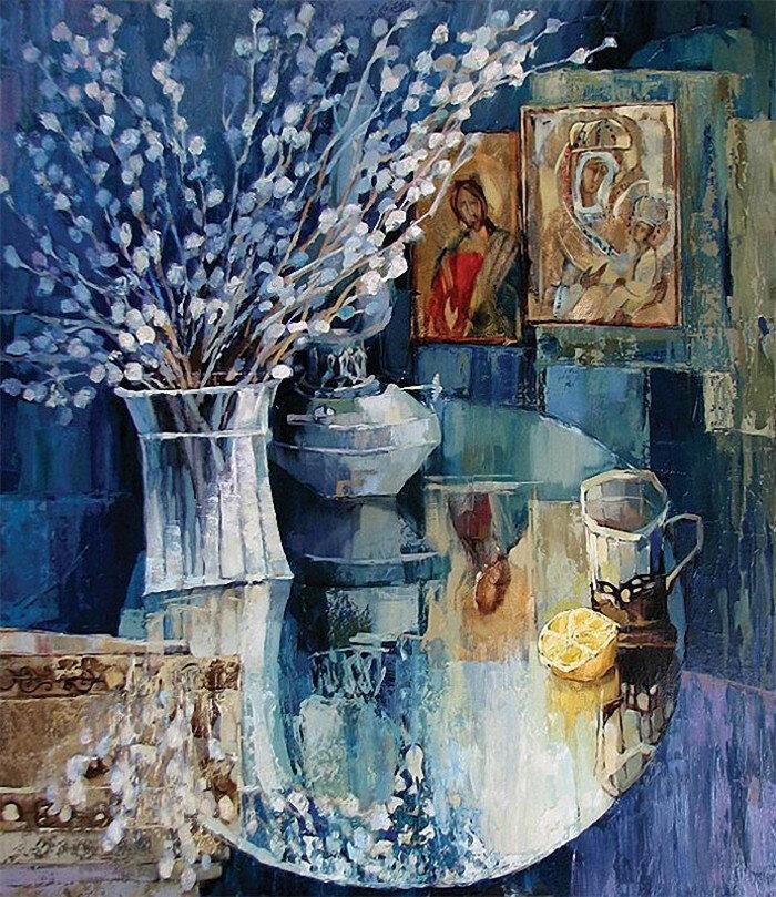Регина Присяжникова - Вербное воскресенье, 2008 г. Холст, масло. 100х90 см