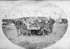 Щабни офицери от командването на полковете в състава на 3-та Гвардейска пехотна дивизия, вероятно в лагера при Яръм-Бургас (дн. Кумбургас, Турция), 1878 г.