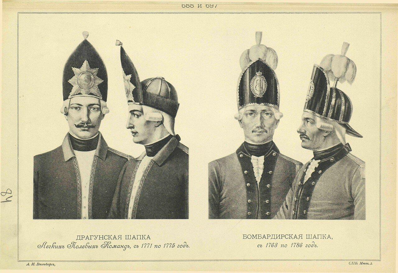 688 и 0697. ДРАГУНСКАЯ ШАПКА Легких Полевых Команд, с 1771 по 1775 год. БОМБАРДИРСКАЯ ШАПКА, с 1763 по 1786 год.