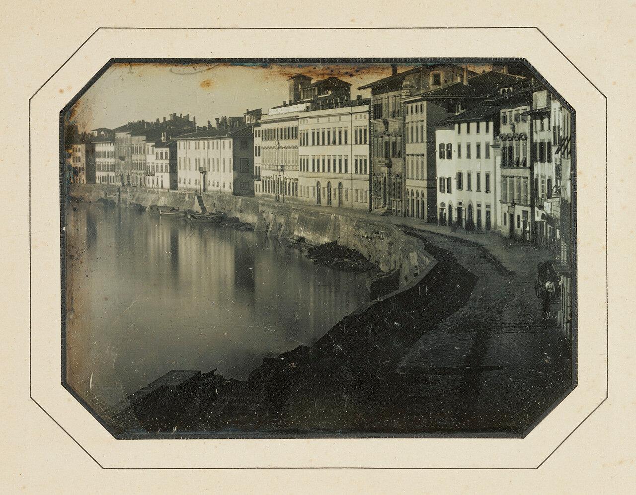 1844. Вид Пизы вдоль реки Арно