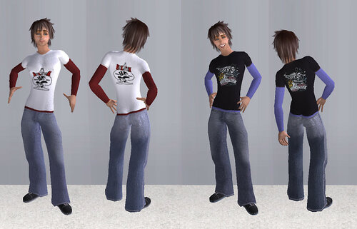 Layer T-Shirts with jeans for beosboxboy's amazing Teen with Pecs. (6 outfits)