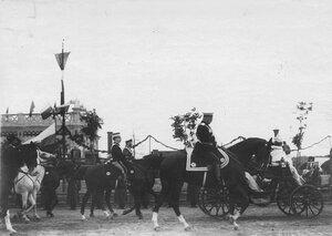 Император Николай II и итальянский король Виктор Эммануил III в день прибытия короля.