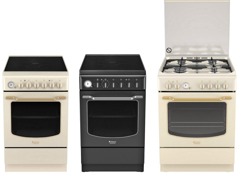 кухонные плиты Hotpoint-Ariston в стиле ретро, кремовые, слоновая кость