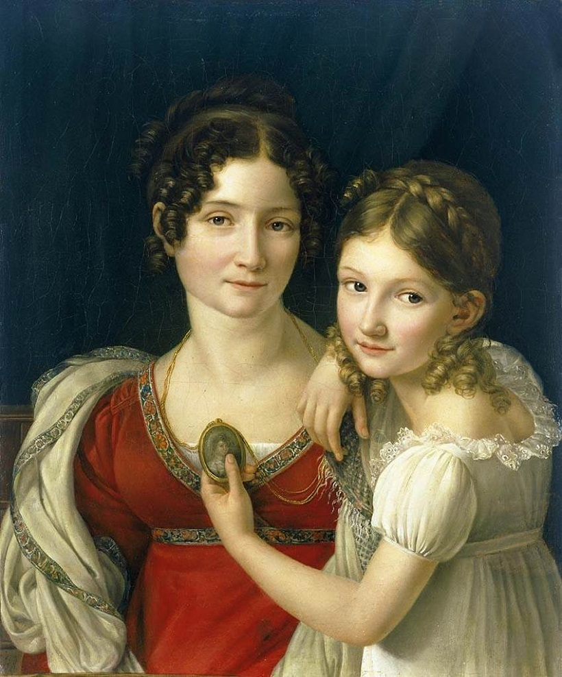 Mother And Her Daughter By Riesener Henri François