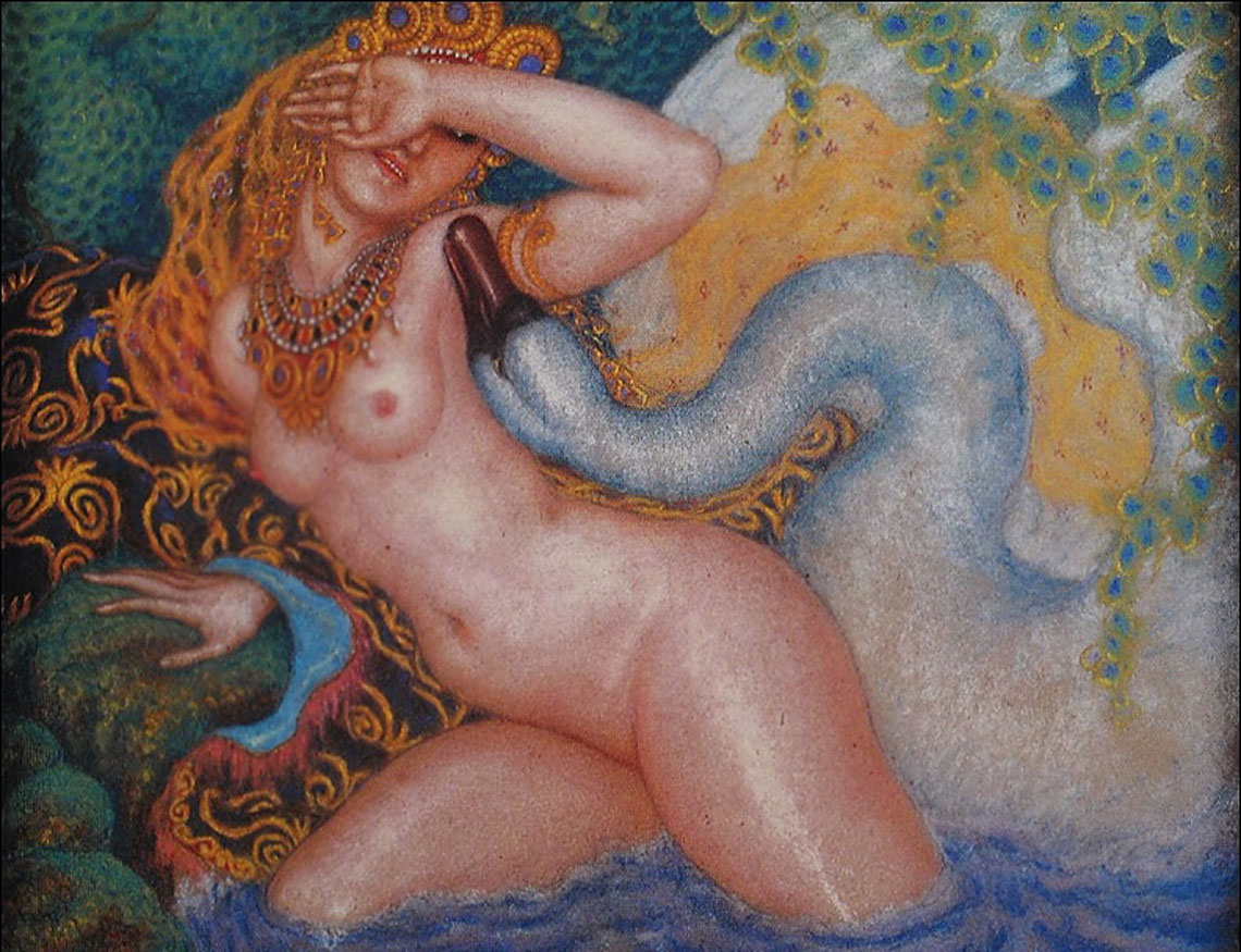 Leda and the Swan. Nikolai Kalmakov(1873-1955).
