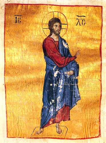 Господь Иисус Христос. Книжная миниатюра. Византия, Константинополь, последняя четверть XI века.