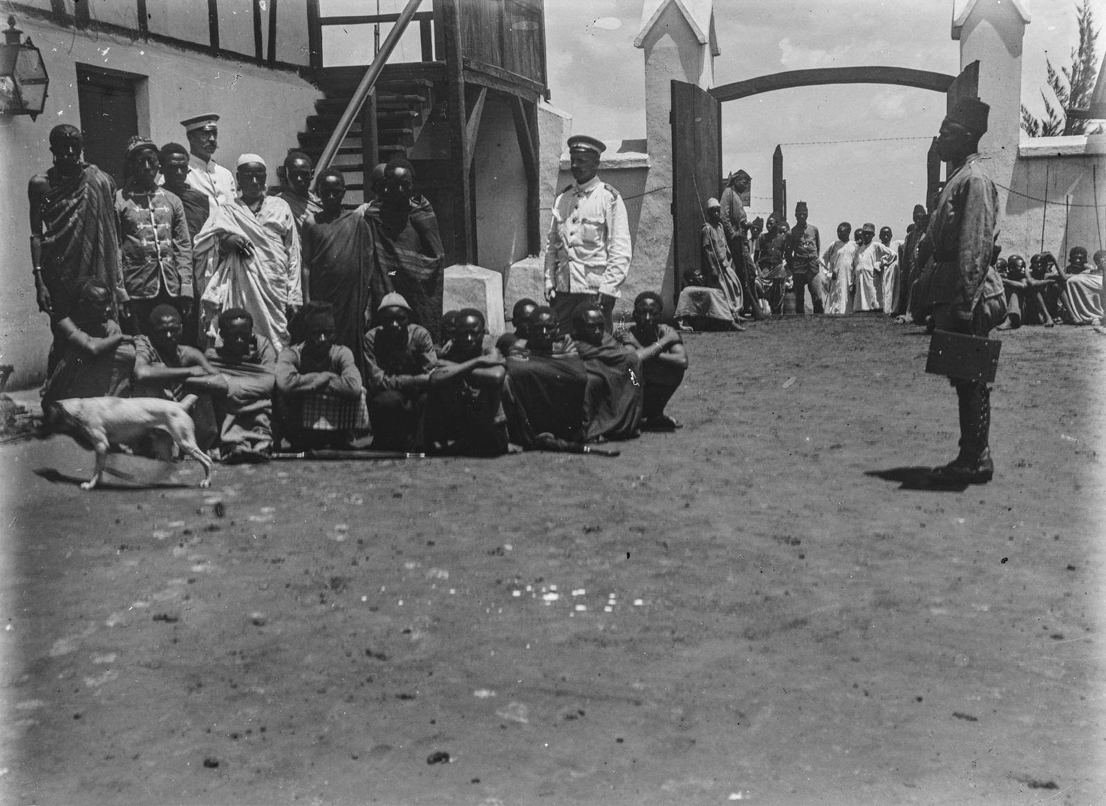 295. Станция немецкого общества Восточной Африки (ДОАГ)  в Моши. Групповой портрет исследователей с людьми чагга
