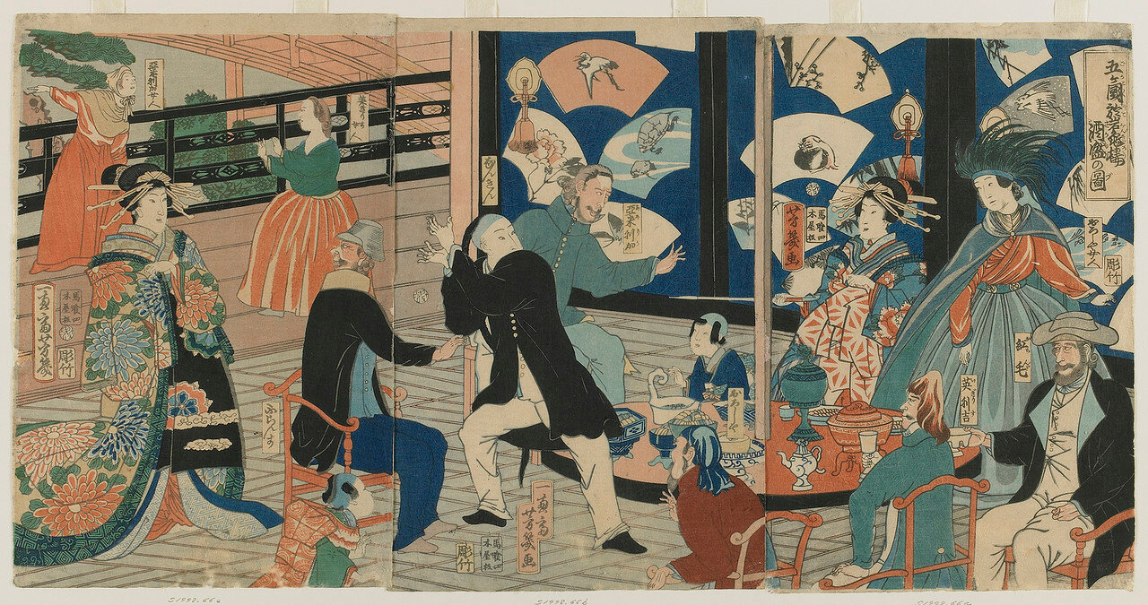 1860. Европейцы развлекаются в заведении города Йокогама
