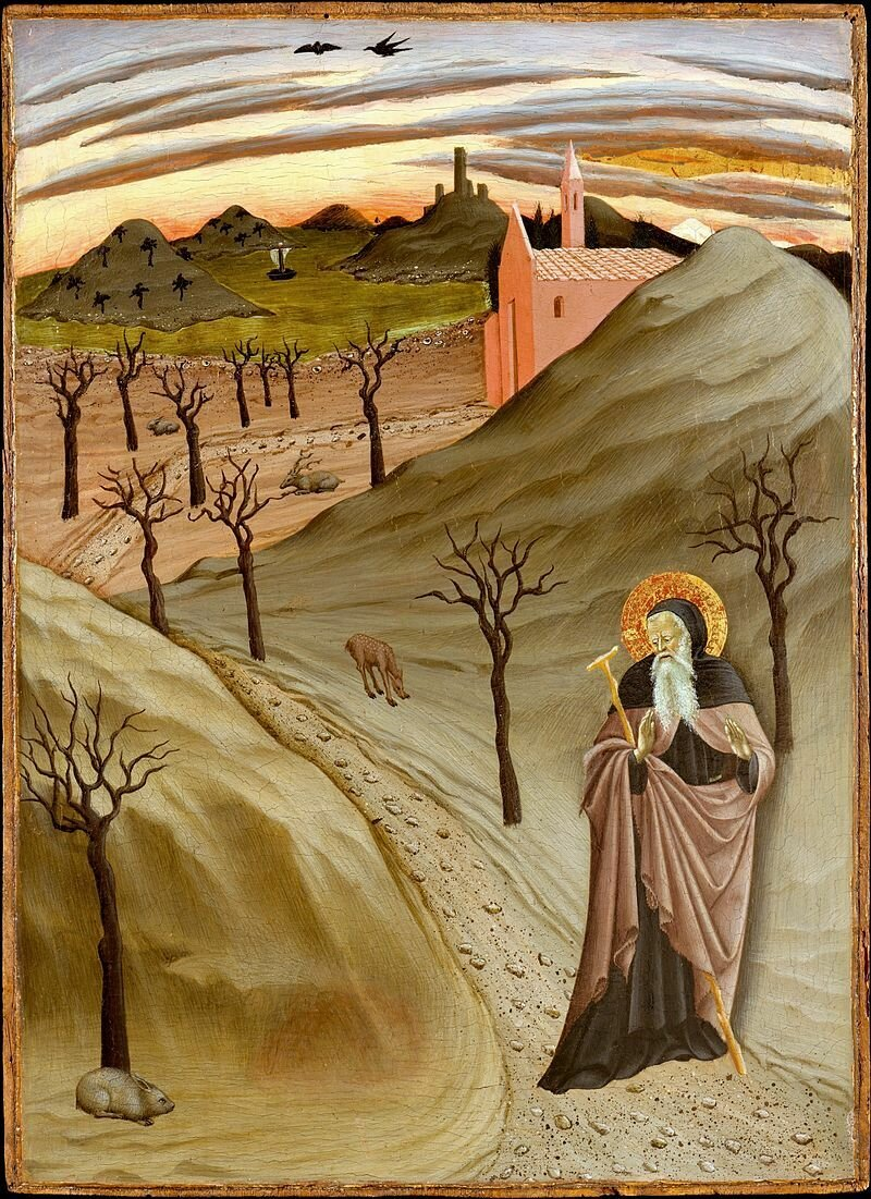 'Saint_Anthony_Abbot_Tempted_by_a_Heap_of_Gold,_,Tempera_on_panel_painting_by_the_Master_of_the_Osservanza_Triptych,_ca__1435,_Metropolitan_Museum_of_Art.jpg
