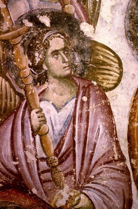 """Ангел Господень. Фрагмент фрески """"Успение Пресвятой Богородицы"""" в монастыре Сопочаны, Сербия. XIII век."""