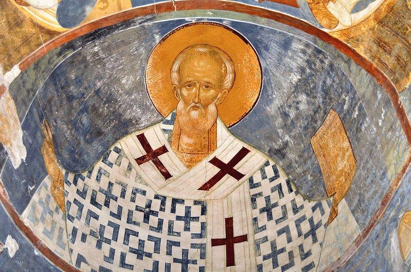 Святитель Николай, Архиепископ Мир Ликийских, Чудотворец. Фреска Дионисия в соборе Рождества Пресвятой Богородицы в Ферапонтовом монастыре. 1502 год.