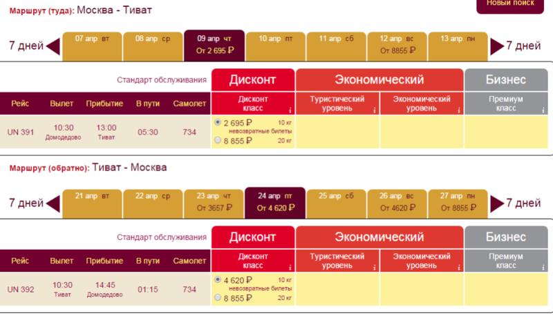 дешевые билеты в черногорию
