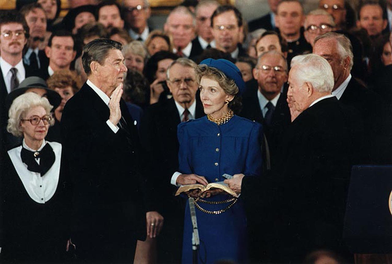 President Reagan being sworn in for second term in the rotunda at the U.S. Capitol. 21 January 1985