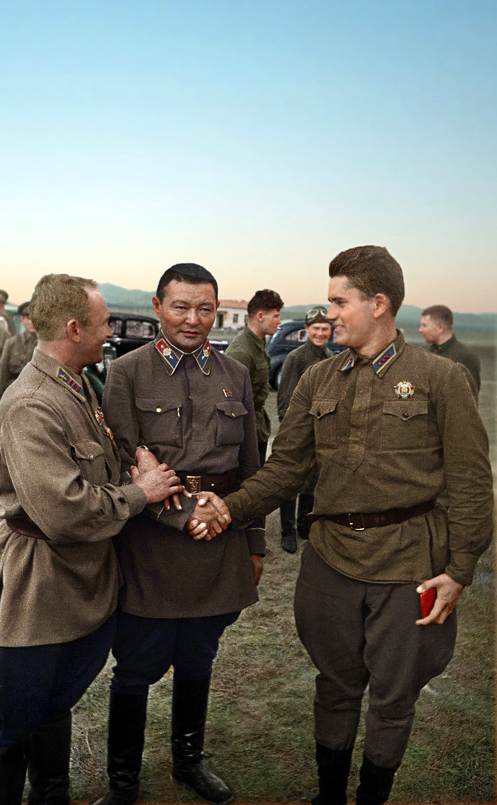 Khalkhin Gol 1939 -  Red Army pilots and Khorloogiin Choibalsan, general chief commander of the Mongolian armed forces