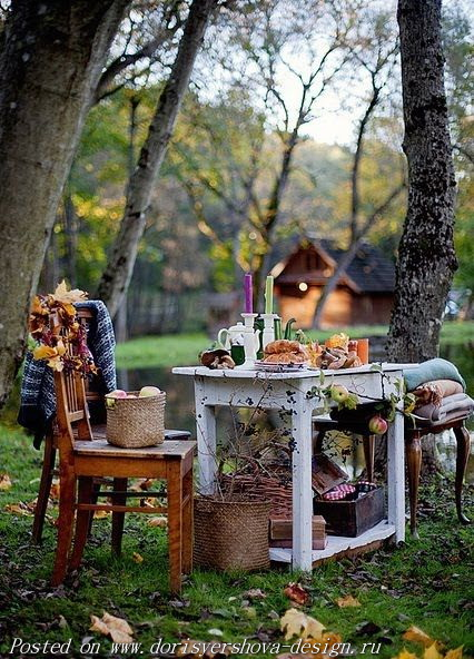 осень, поляна, стол, стул, плед