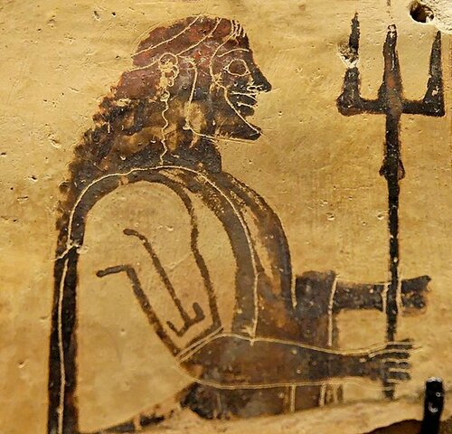 Poseidon holding a trident. Corinthian plaque, 550–525 BC. From Penteskouphia..jpg