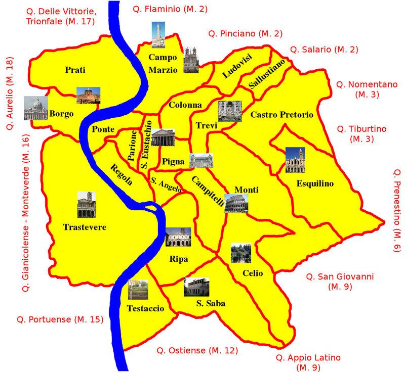Карта Рима с достопримечательностями