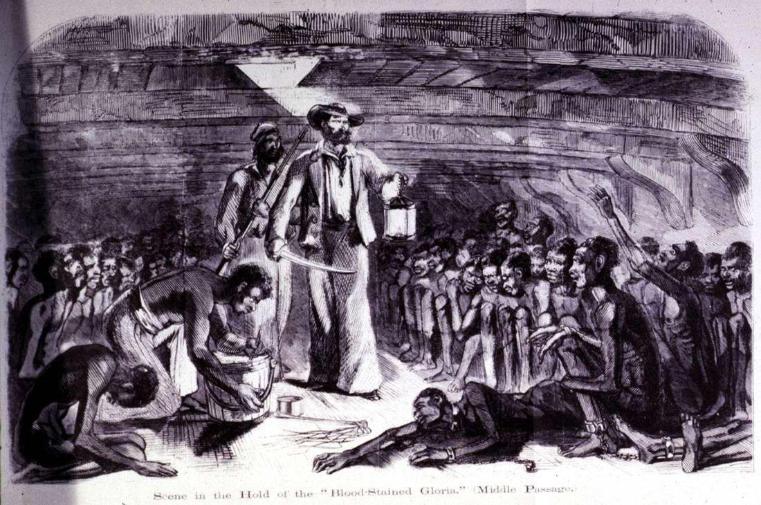 Африканские невольники в трюме судна, использовавшегося для контрабандной переправки рабов в Америку (1860 год)