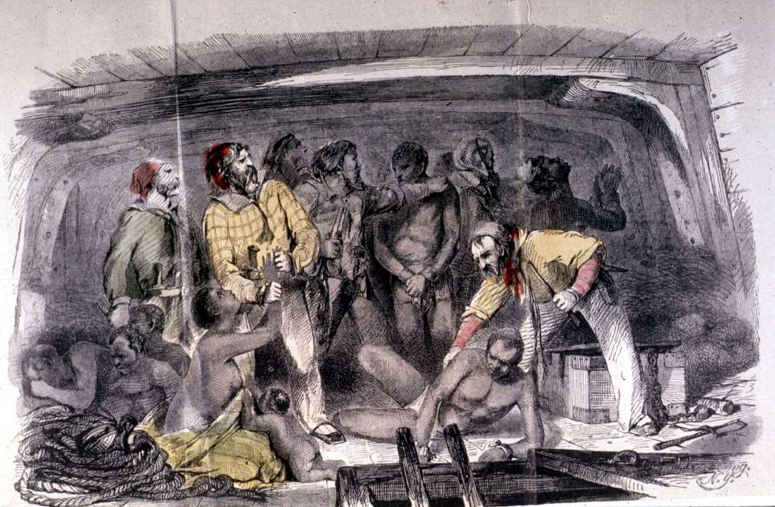 Процесс погрузки рабов в трюм судна (середина 19 века)