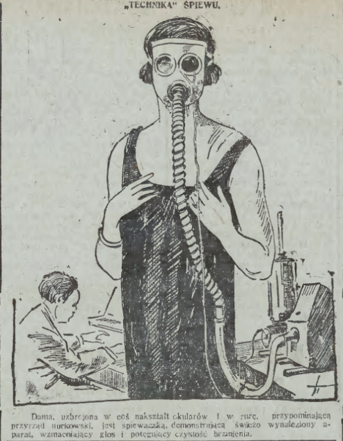 Техника пения. Дама, вооруженная чем-то вроде очков и шланга, напоминающего оборудование водолазов, - это певица, которая демонстрирует недавно изобретенный аппарат, усиливающий голос и чистоту его звучания.jpg