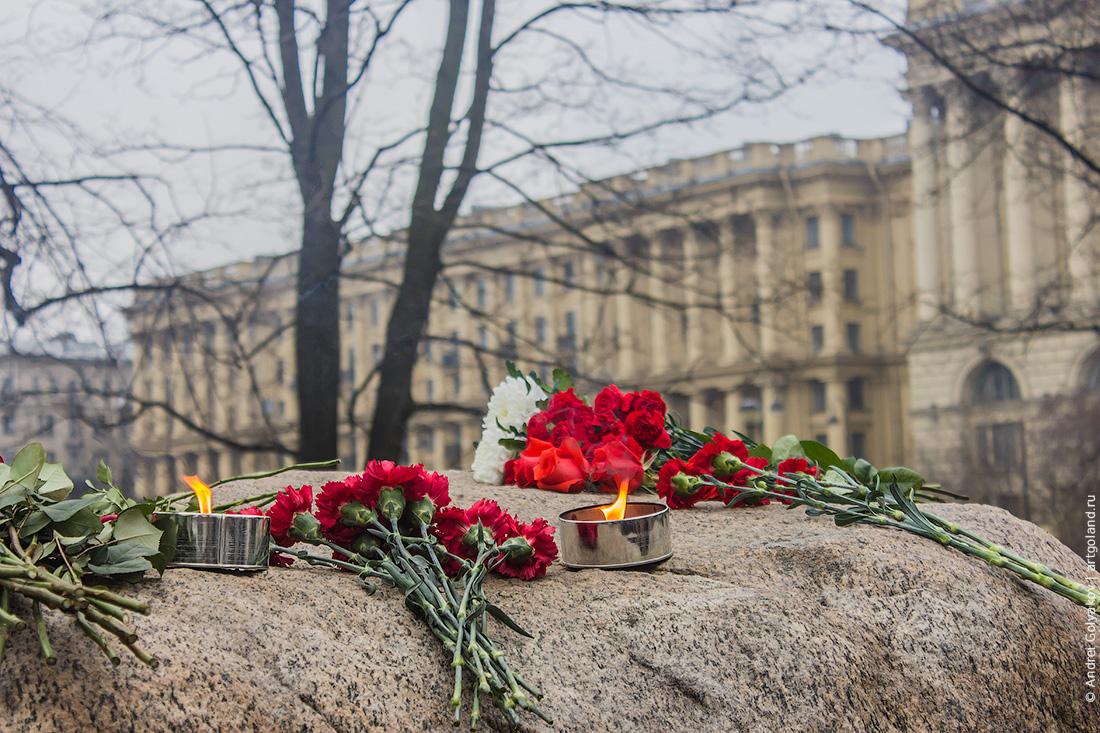 Акция памяти Бориса Немцова у Соловецкого камня