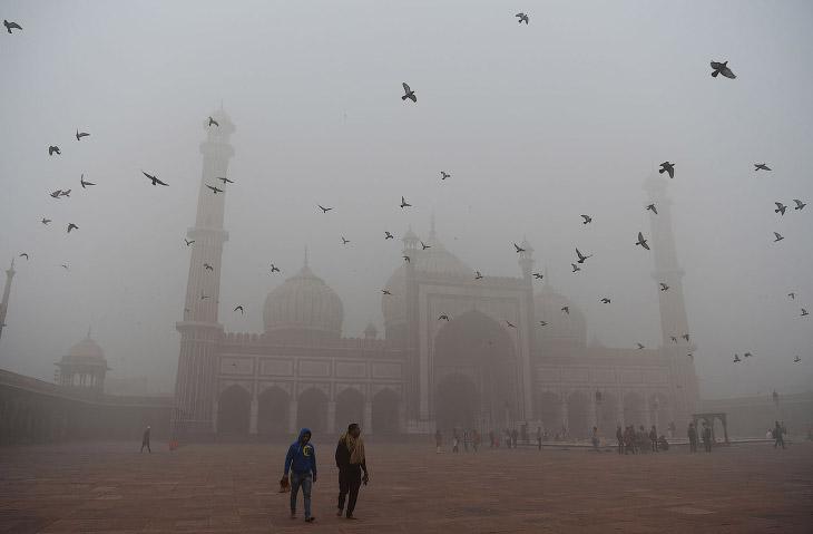 2. На улице совсем мрак. Нью-Дели, 10 ноября 2017. (Фото Altaf Qadri):