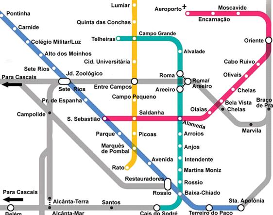 Схема метро Лиссабона: