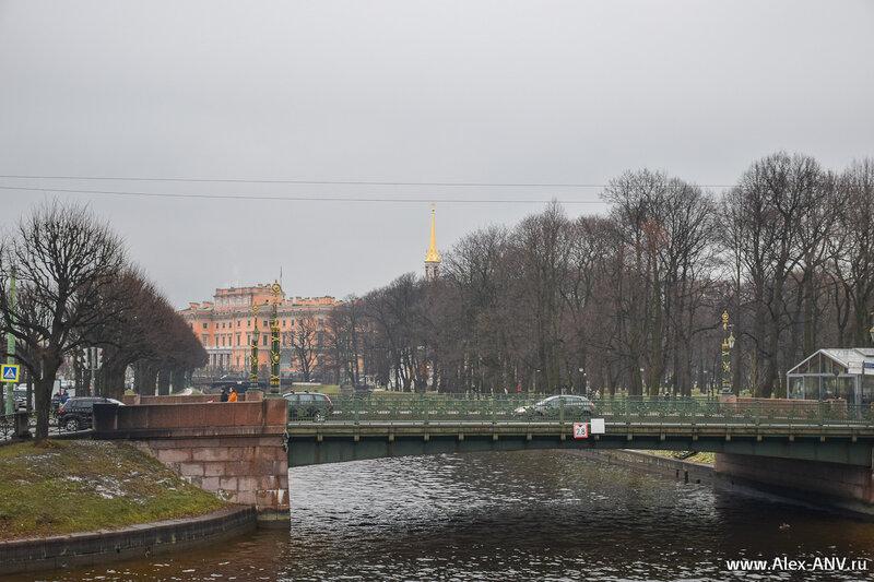 Второй Садовый мост и Михайловский замок вдалеке.