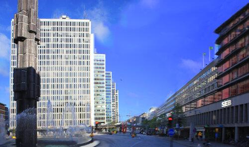 Небоскрёбы Стокгольма на площади Сергеля