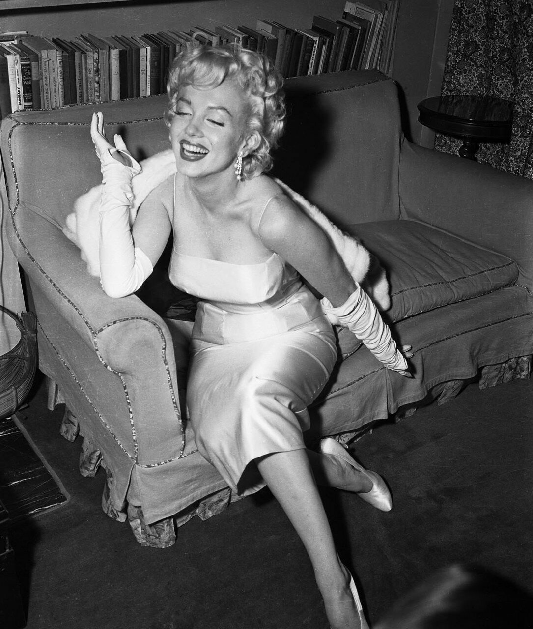 Marilyn Monroe Smiling on Couch