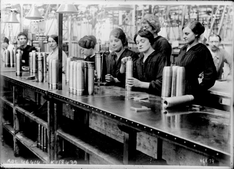 Women filling shells in a munitions factory Scotland
