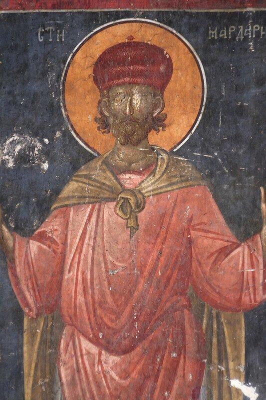Святой мученик Мардарий Севастийский. Фреска монастыря Грачаница, Косово, Сербия. Около 1320 года. Фрагмент.
