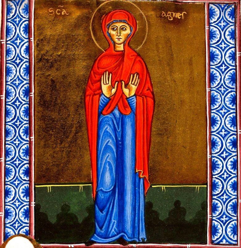 Святая мученица Агния (Анна) Римская, дева. Книжная миниатюра. Иерусалим, XII век.