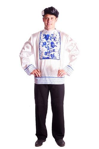 Мужской карнавальный костюм Русский белый с узором