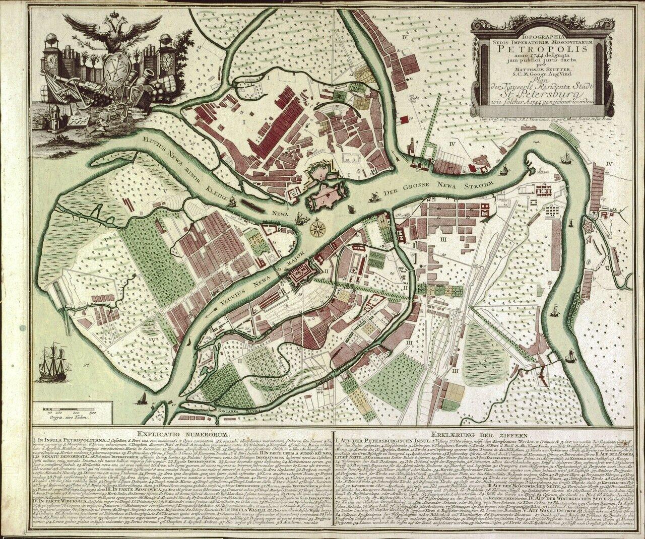 1744. Топографическая карта Петрополиса