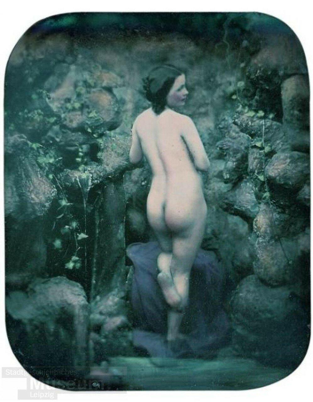 1850-е. Обнаженная женщина в гроте.  Феликс Жак-Антуан Мулен