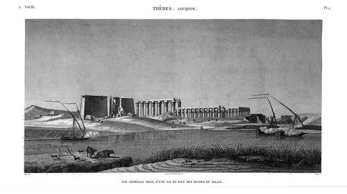 Храм Амона в Луксоре, гравюра, вид со стороны Нила