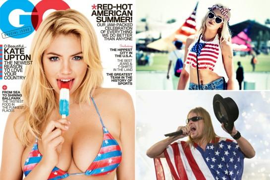 Американские знаменитости в одежде цветов звездно-полосатого флага