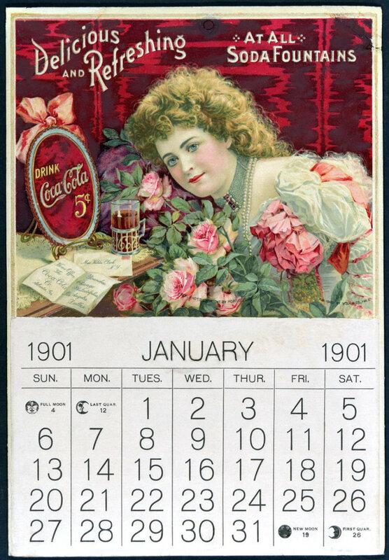 Coca-Cola calendar featuring Hilda Clark, 1901.