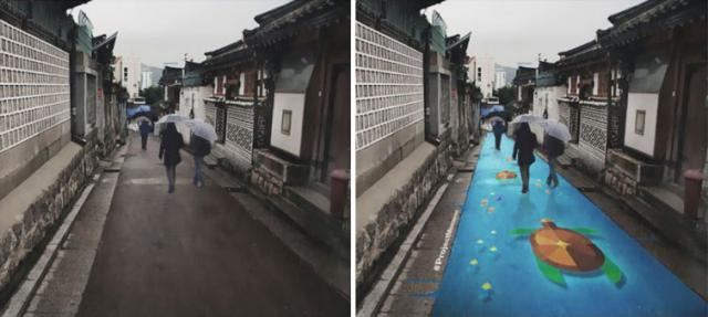 Стрит арт на дорогах, который видно только под дождём