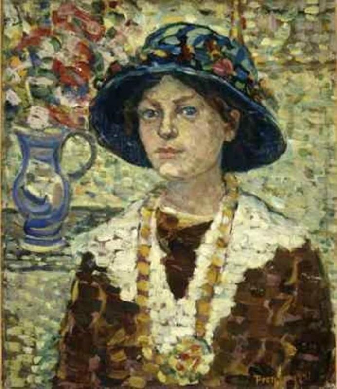 Maurice Prendergast (American painter, 1858-1924) Girl with Flowers, c. 1910-13 (2).jpg