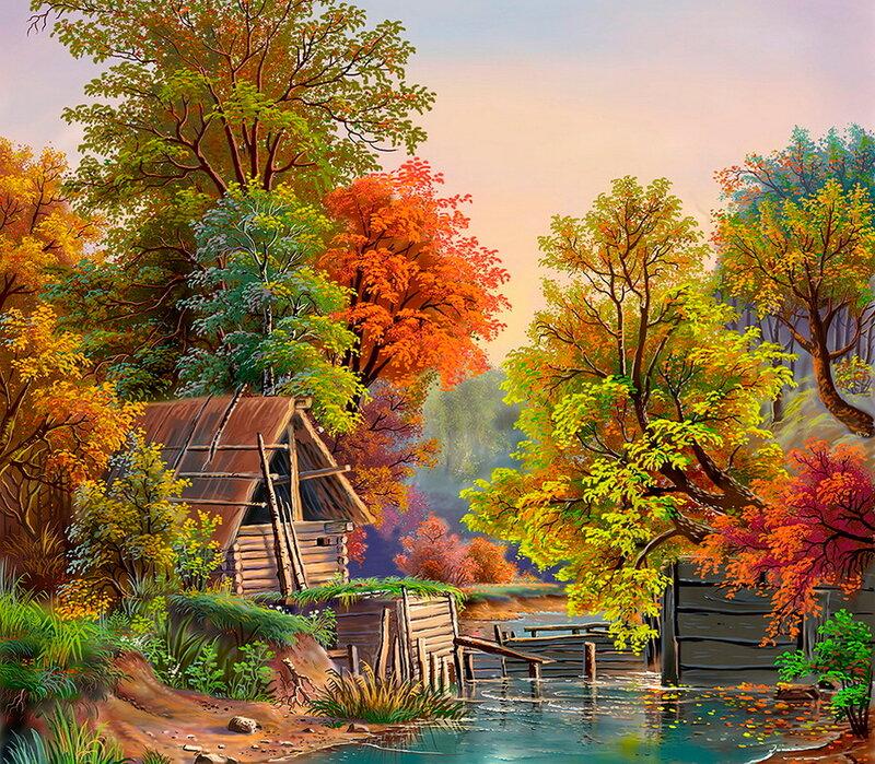 Осенний лес, играя красками.