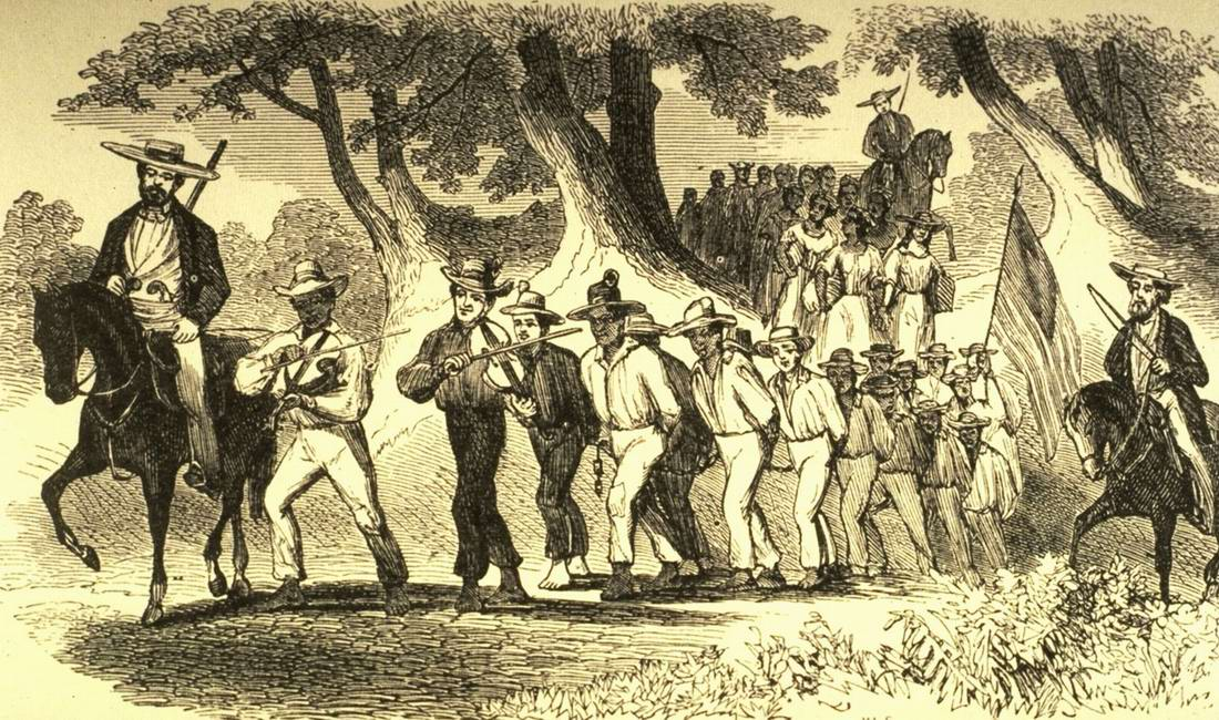Перемещение колонны рабов по территории штата Кентукки (1850-е годы)