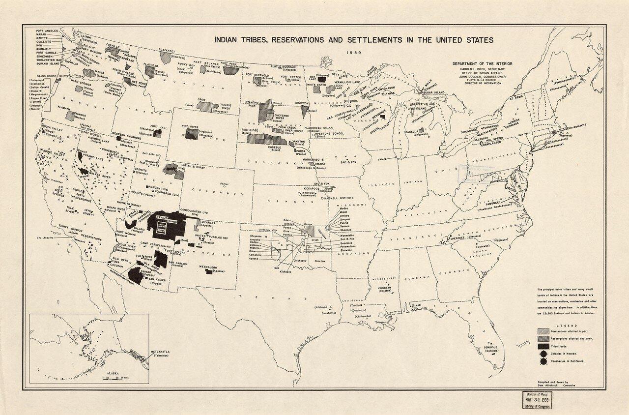 1939. Индейские племена, резервации и населенные пункты в Соединенных Штатах.